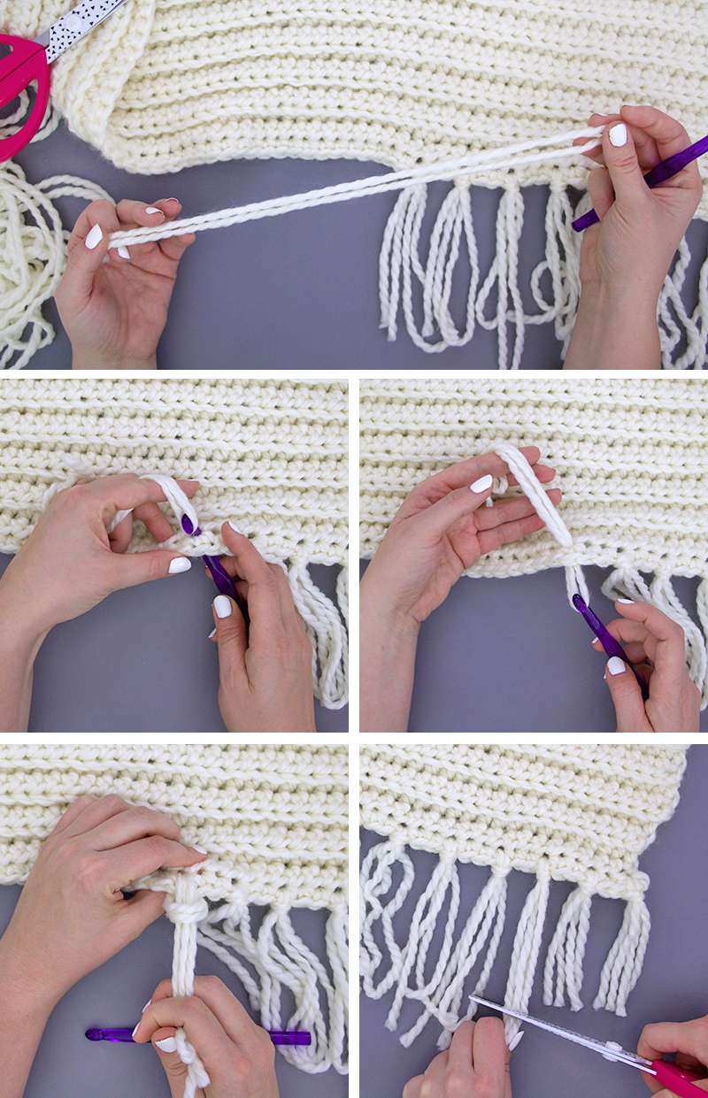 how to add tassels to a scarf