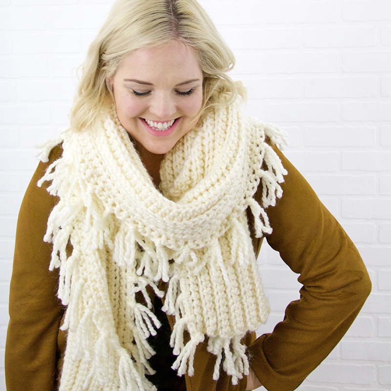 chunky ribbed scarf - free crochet pattern