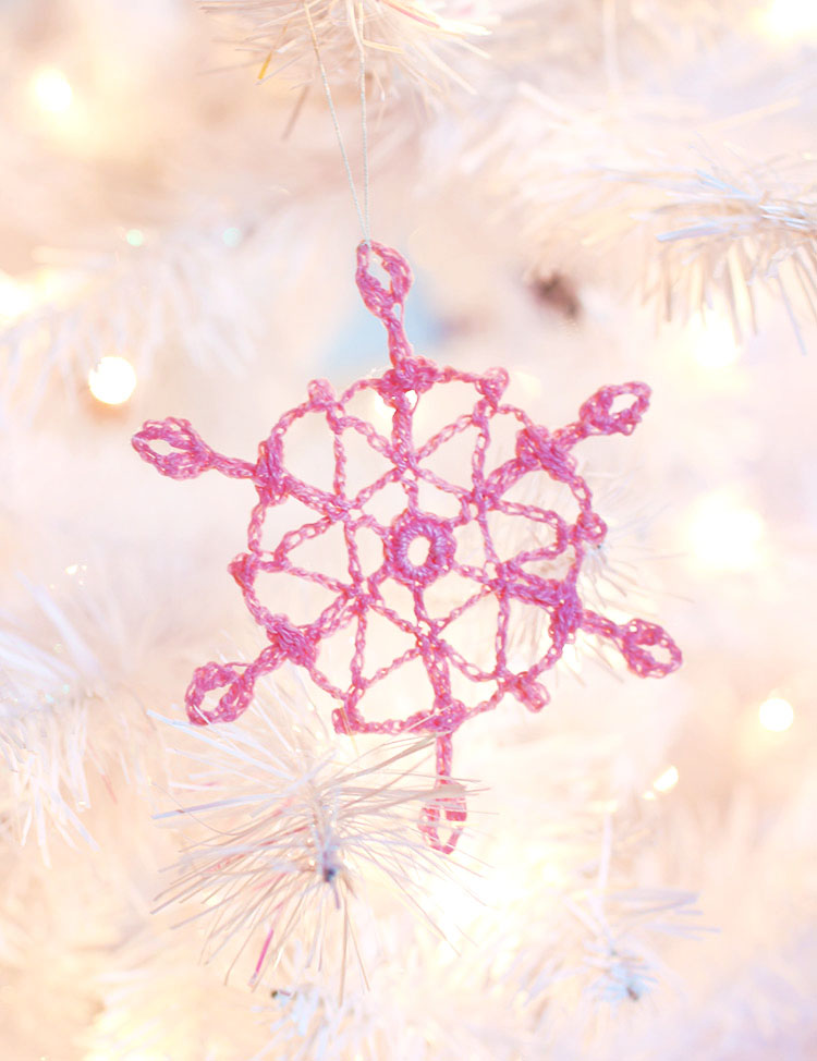crochet snowflake pattern - make your own colorful snowflake ornaments