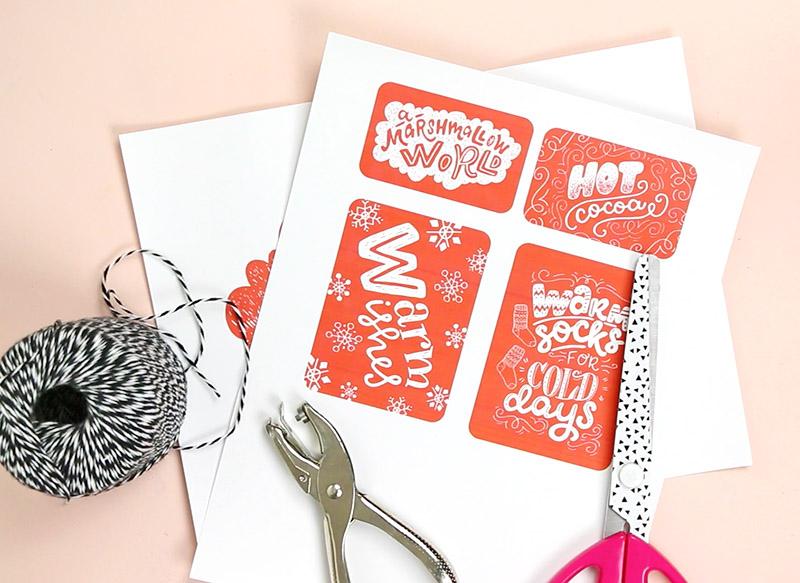 cut tags - diy christmas gift basket