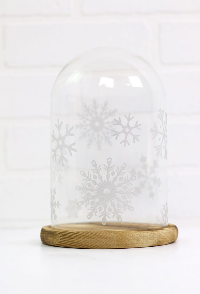 etched glass vinyl snowflake cloche