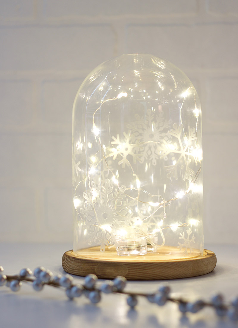 snowflake cloche with lights