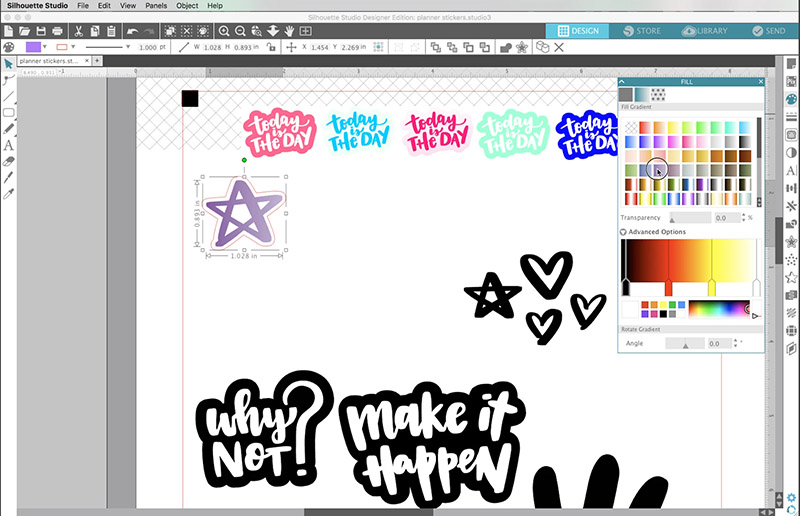 how to change colors of stickers in silhouette studio