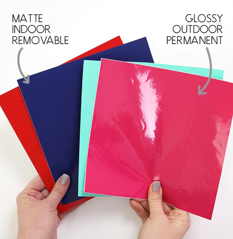 matte / indoor adhesive vinyl compared to glossy / outdoor vinyl