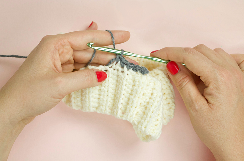 crochet into brim of beanie