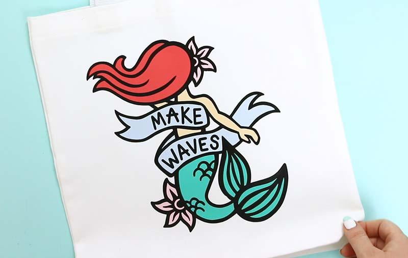 finished DIY mermaid bag