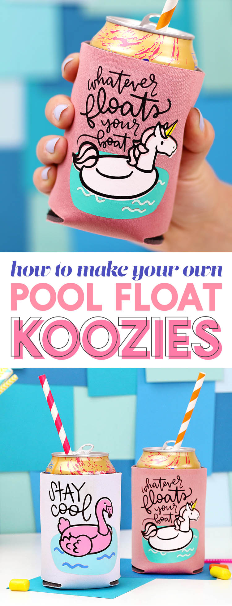 make your own pool float koozies