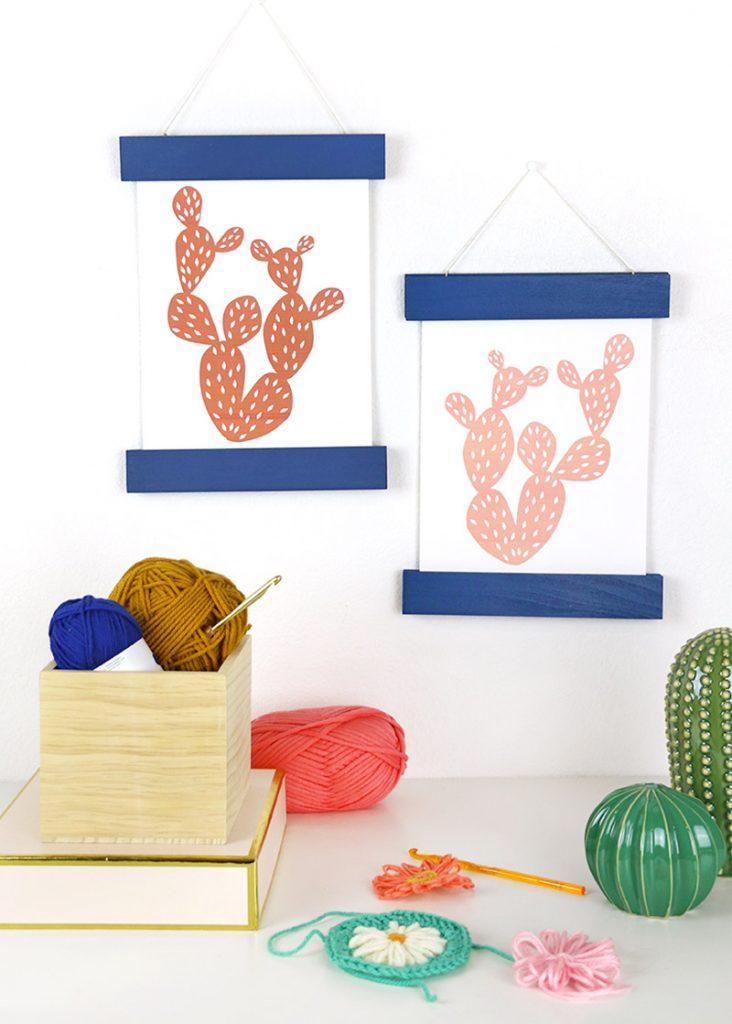 colorful diy magnetic print hangers