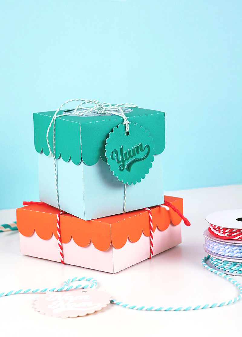 diy paper treat boxes and embossed glossy gift tags cut files for silhouette and cricut