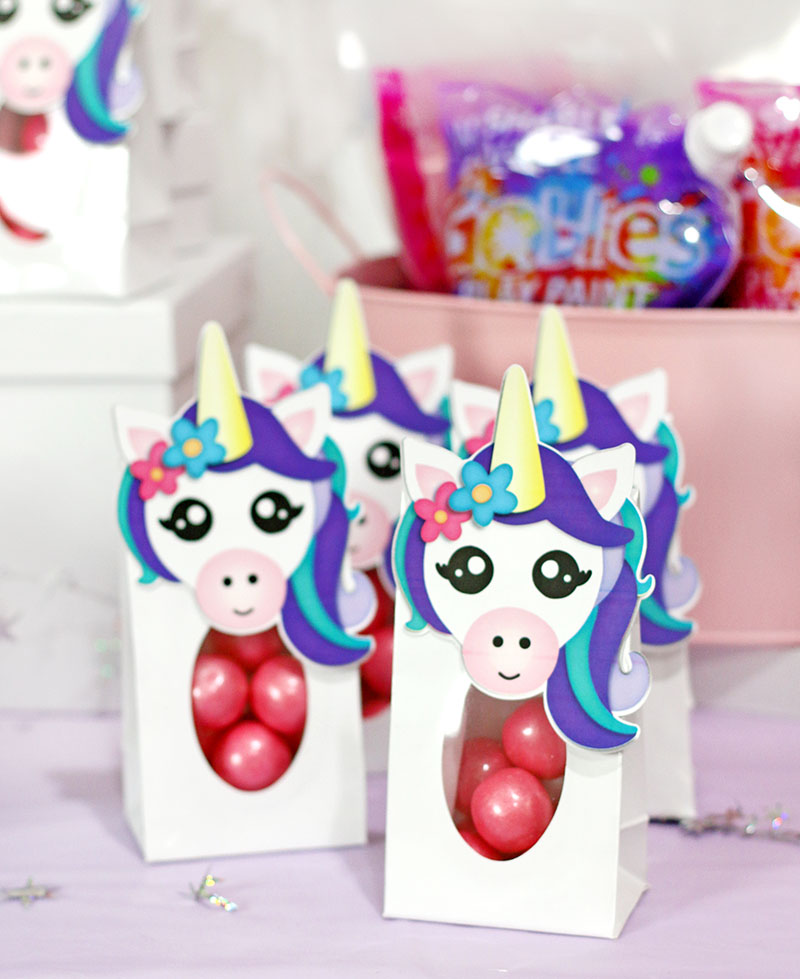 diy unicorn party favor treat bags printables