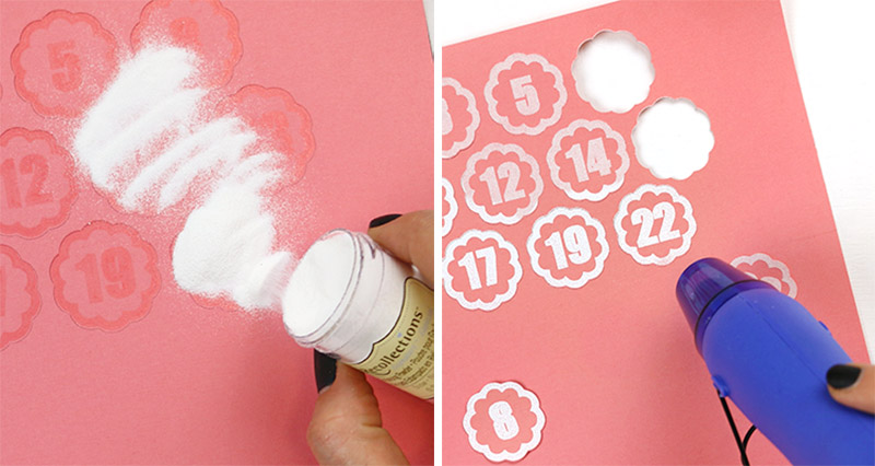 heat embossing numbers for silhouette advent calendar