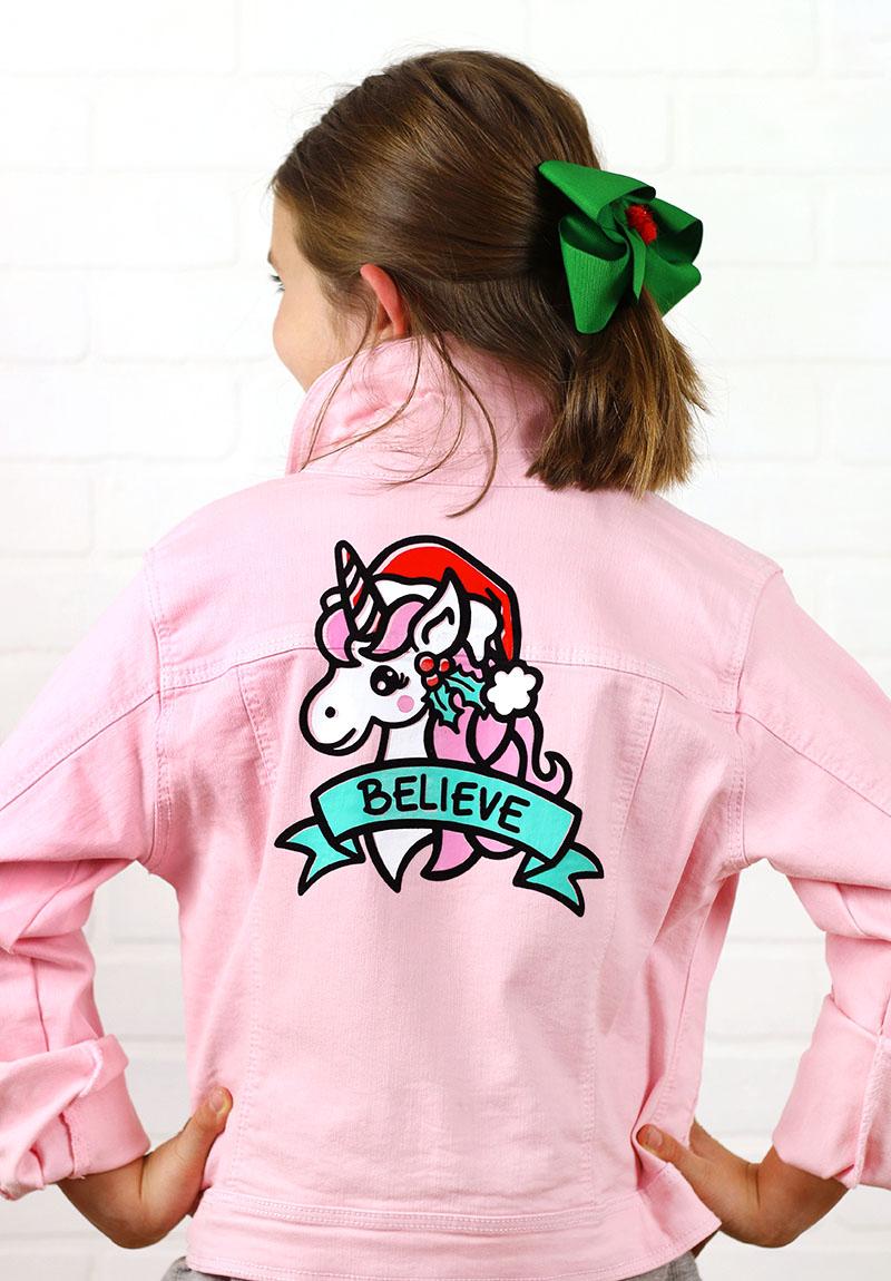 christmas unicorn jacket diy with holiday unicorn cut file