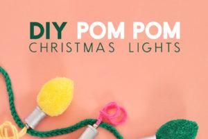 DIY Pom Pom Christmas Light Garland & Gift Topper