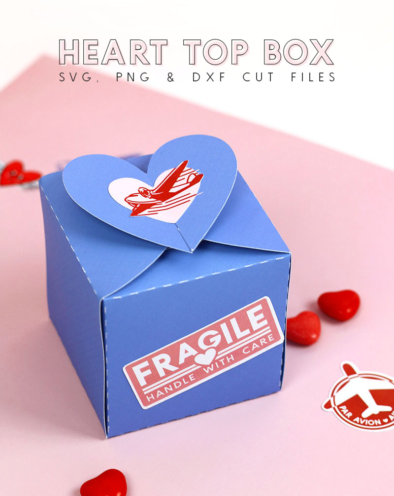heart top box svg cut file