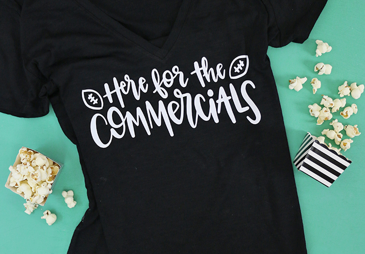 diy super bowl shirt here for the commercials free cut file