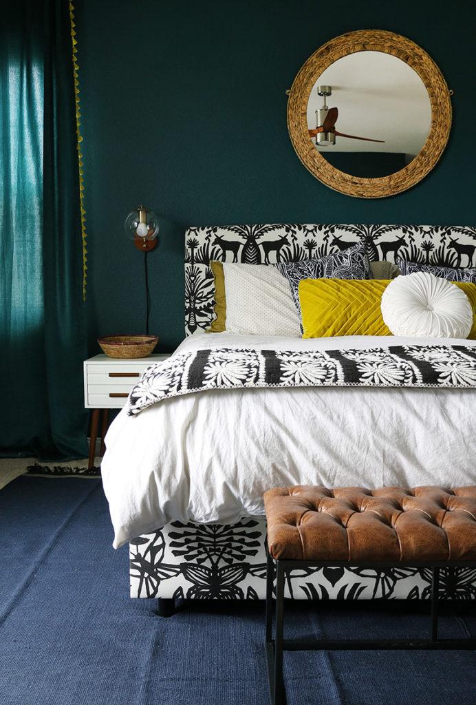 dark teal bedroom ideas detail