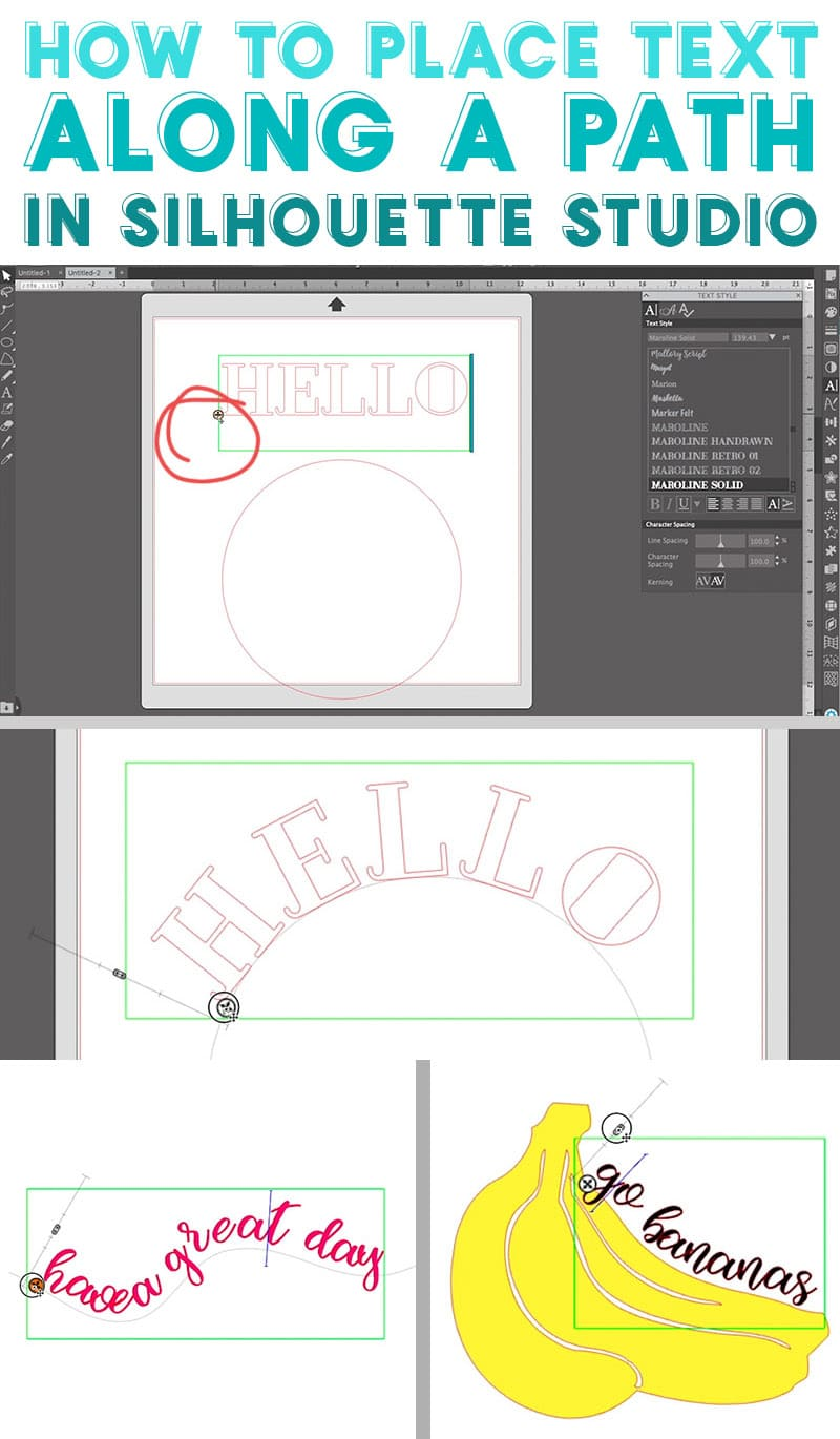 collage of screenshots of the silhouette studio software demonstrating how to curve text along a path