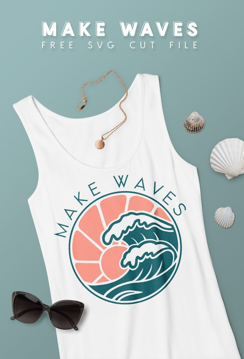 white tank top on blue background with teal and coral make waves retro styled ocean drawing design