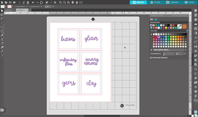 Screencap showing how to change the line color in the Silhouette Studio software.