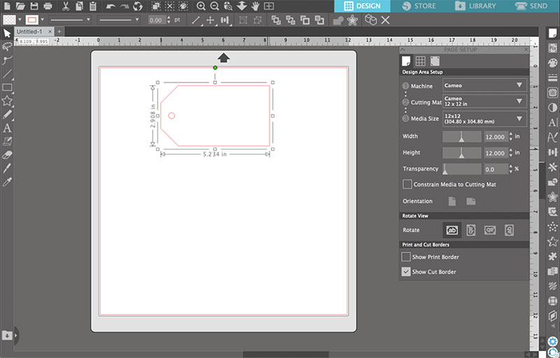 Scaling the tag design in the Silhouette Studio software.