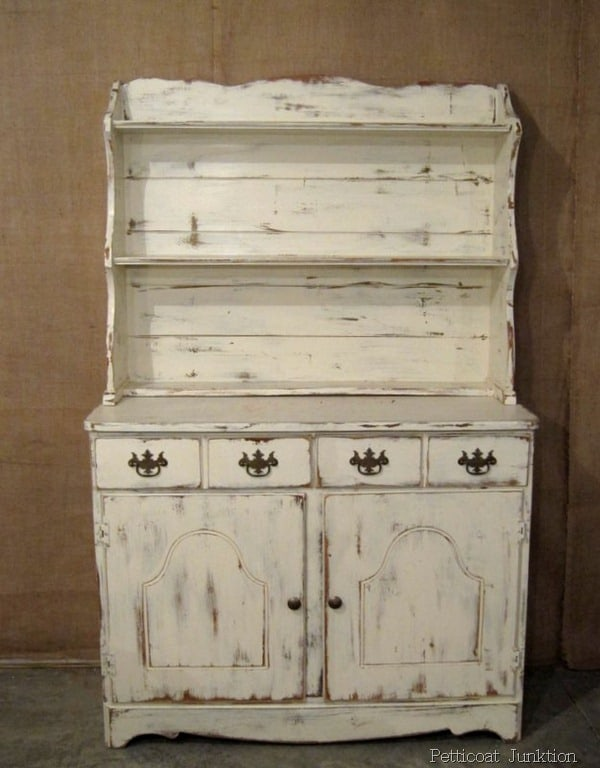 White Hutch With Distressed Paint