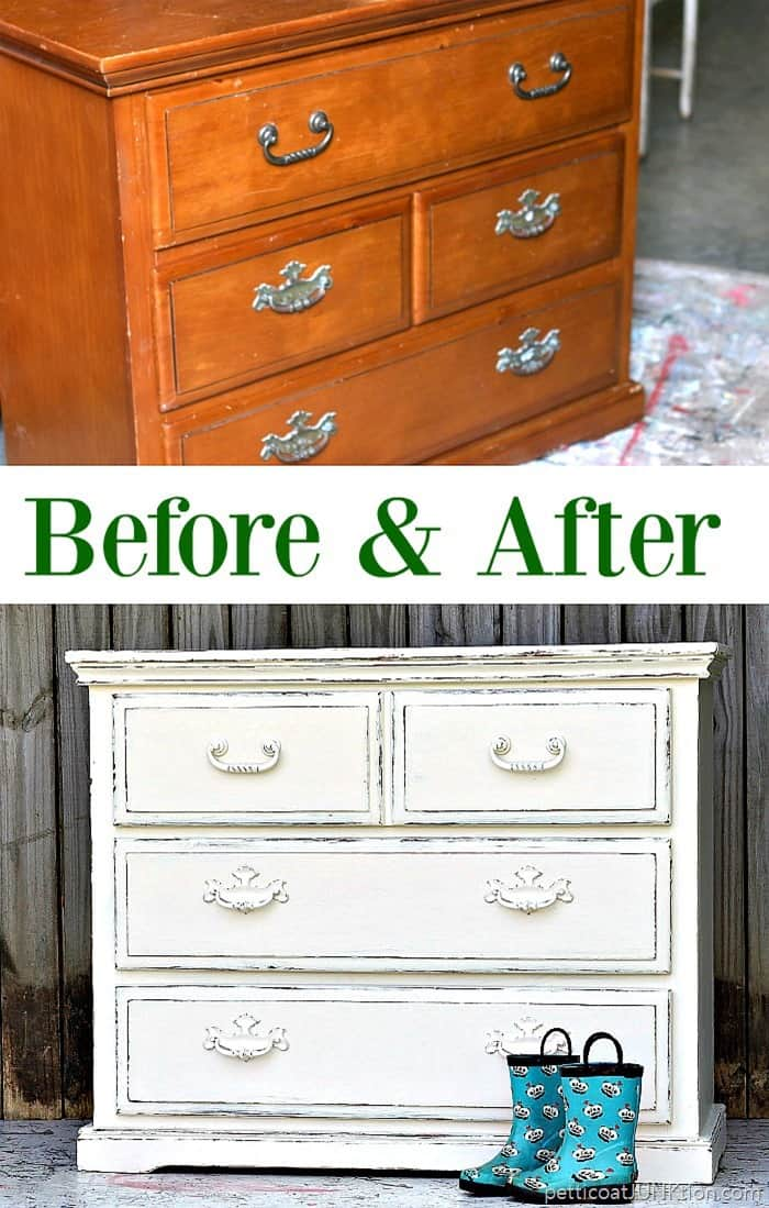 And After Stenciled Furniture