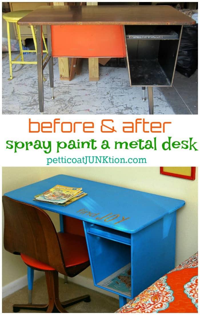 I Used Spray Paint On The Metal Desk Petticoat Junktion
