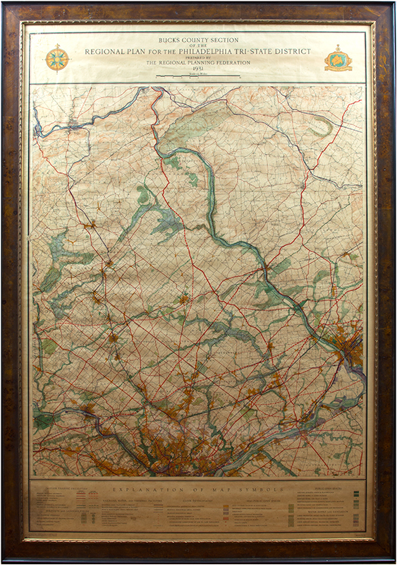 Large Antique Map in Picture Frame   Doylestown  Bucks County  PA large framed map