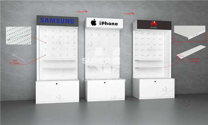 Modern Pegboard Display With Hooks Wall Cell Phone