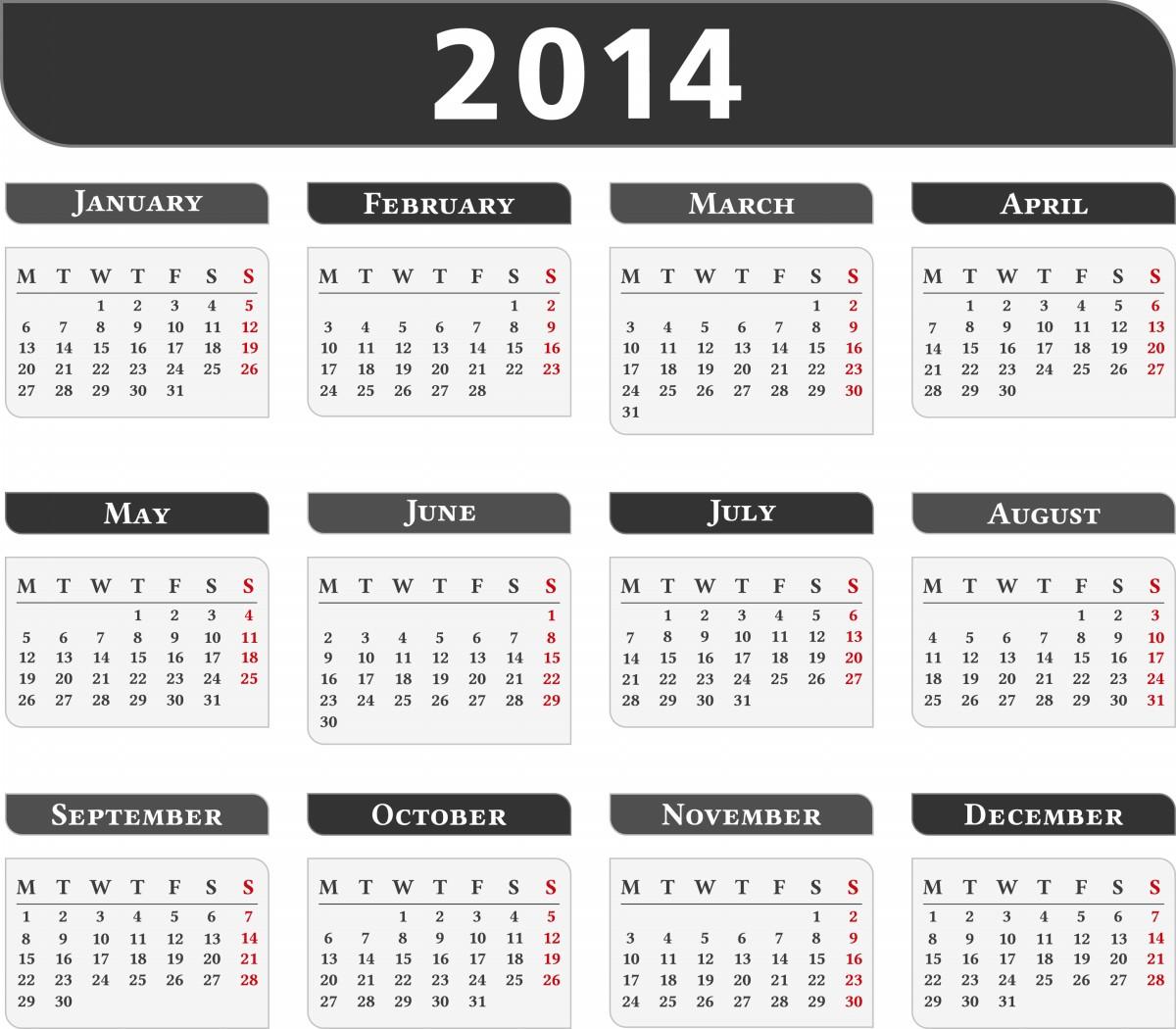 2014 Calendar All Months