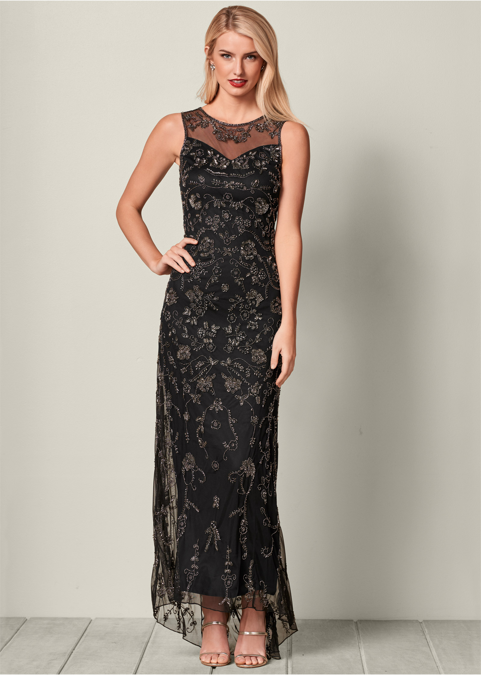 All Over Beaded Long Dress in Black   VENUS ALL OVER BEADED LONG DRESS  HIGH HEEL STRAPPY SANDAL