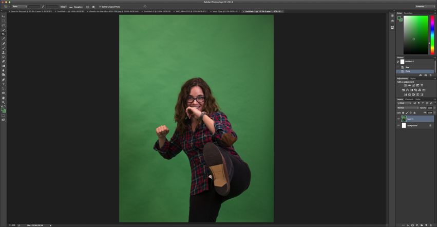 How to  Remove Green Screen Background in Photoshop   Seneca Sandbox     Open up your green screen background image how to green 1