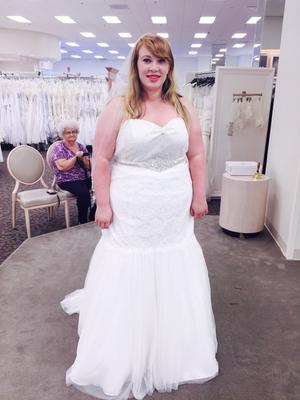 Petite Strapless Lace Trumpet with Tulle Skirt   David s Bridal User submitted photo