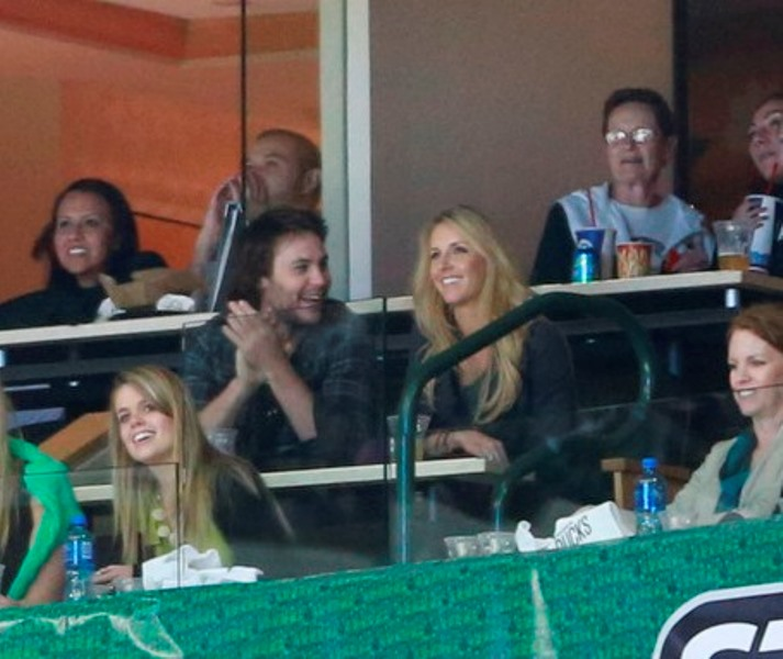 Taylor Kitsch at Game 4 Dallas vs Anaheim NHL playoff game ...