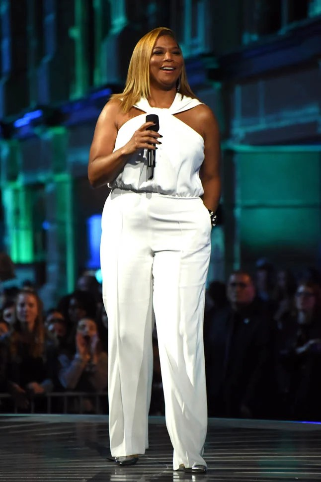 Queen Latifah S White Jumpsuit At The Mtv Movie Awards