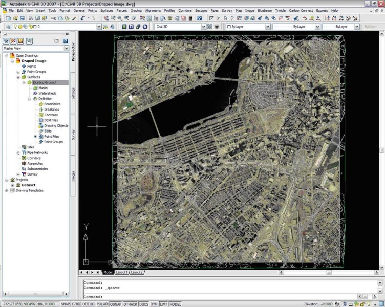 Image Draping with Civil 3D 2007  Image Draping on Civil 3D 2007     The surface style that is applied to the surface must be modified to  display triangle faces when the surface is displayed in a 3D view