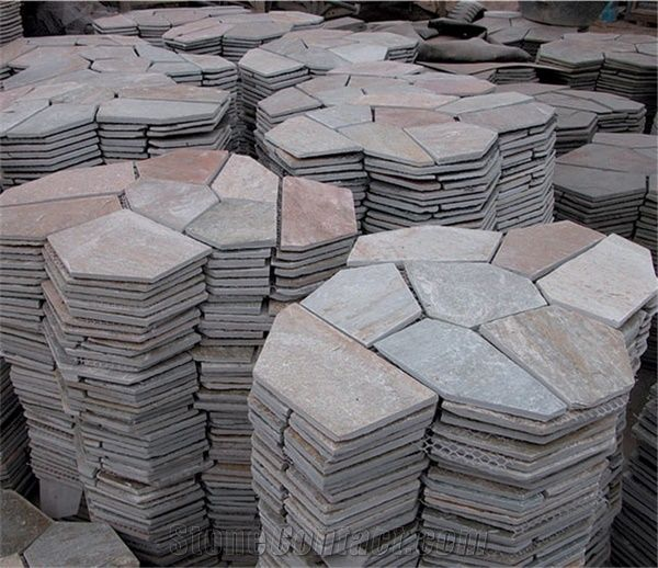 China Rustic Slate Random Flagstone Pavers For Road Beige