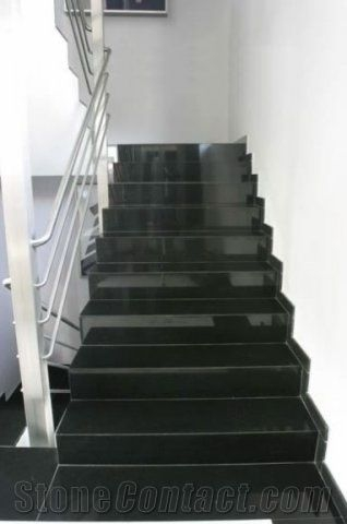 Absolute Black Granite Steps India Black Granite Risers Black | Black Granite Staircase Designs | India Staircase | Contemporary | Italian Marble Step | Double Staircase | Wood Girl