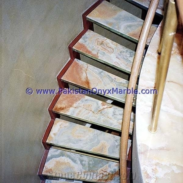 Pakistani Handemade Onyx Stair Steps Onyx Treads And Risers | Hardwood Steps For Stairs | Modern White Oak Stair | Cover | Iron Baluster | Unfinished | Staircase