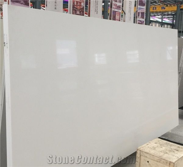 Artificial Pure White Quartz Slab White Sparkle Quartz For