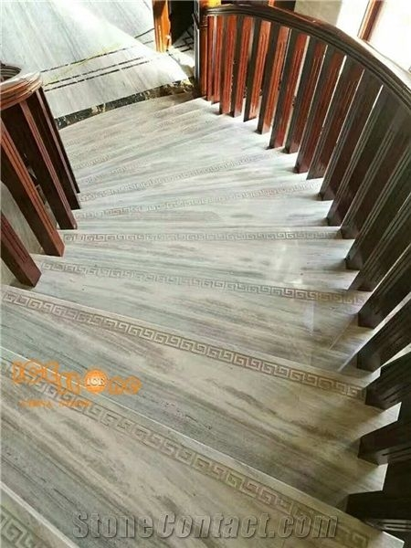 Platinum Wooden Marble Tiles Slabs White Wood Marble White Grain | Wood Grain Tile On Stairs | Natural Wood | Contemporary | Basement | Upstairs | Subway Tile