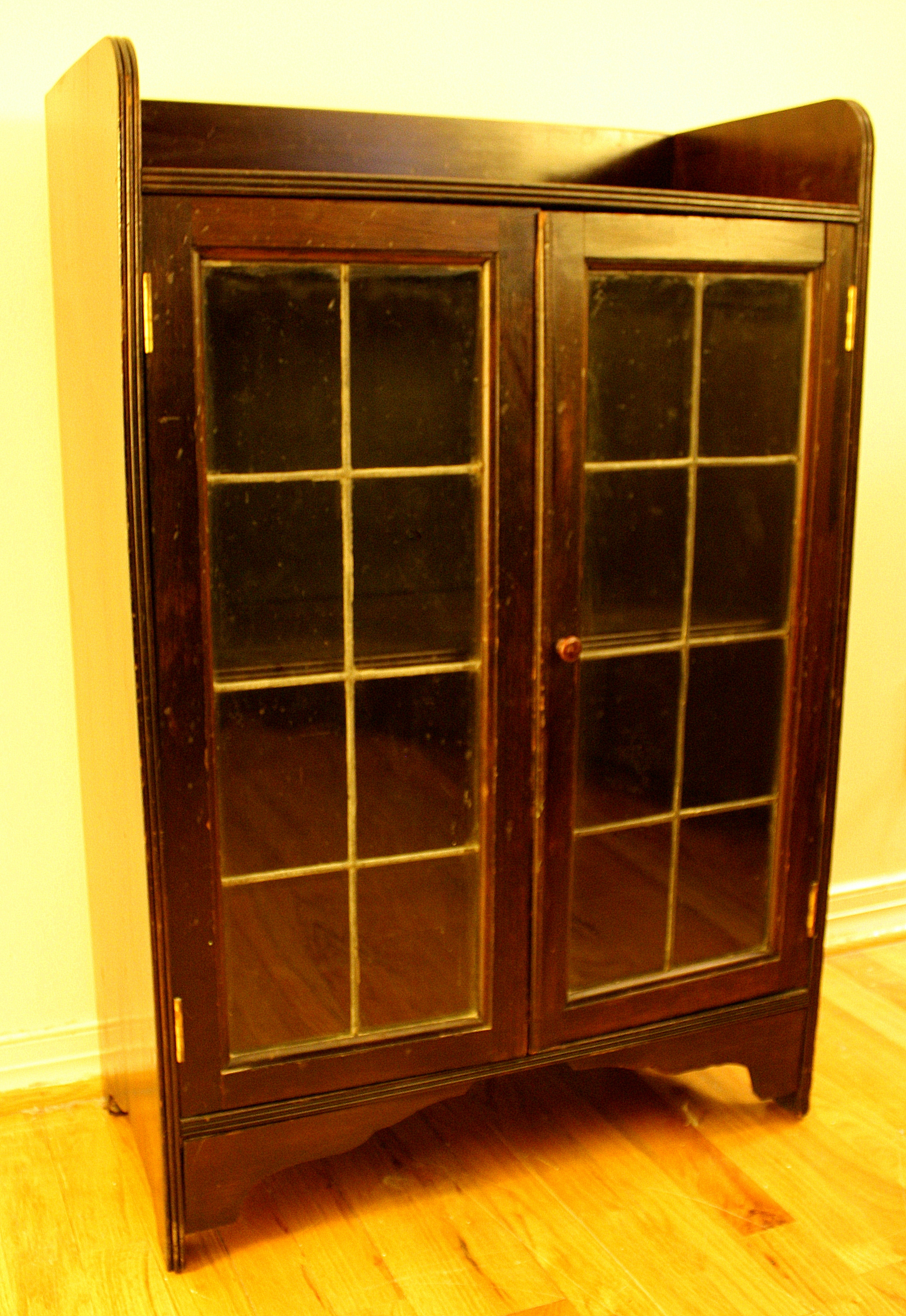 Antique Wood Cabinet With Leaded Glass Windows Picked