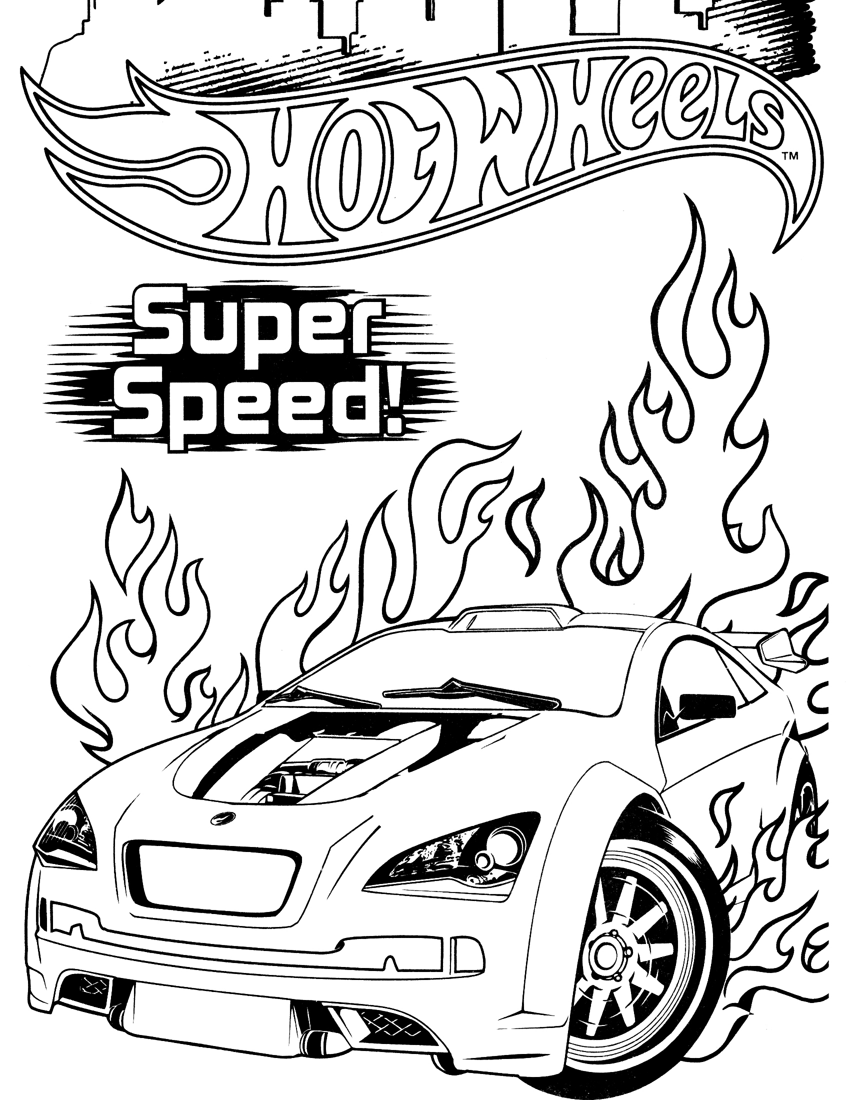 Super Speed Hot Wheels Racing Car Coloring Pages Picolour