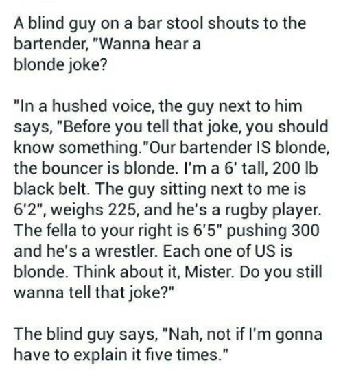 Blonde Jokes Blind Man Bar