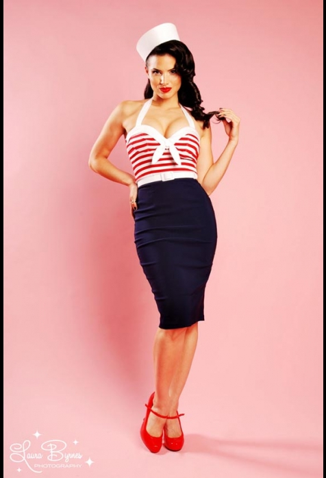 """Sexy """"Hello Sailor"""" Nautical Wiggle Dress with Red Stripes ..."""