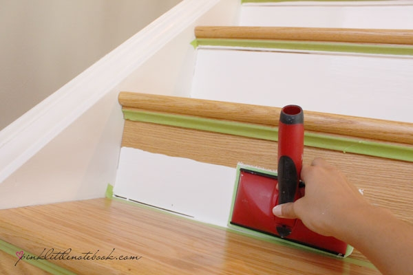 Painting A Stair Riser In 10 Seconds Or Less A Must Have Tool   Best Wood For Stair Risers   Hardwood Flooring   Paint   Stair Tread   Spindles   Wooden Stairs