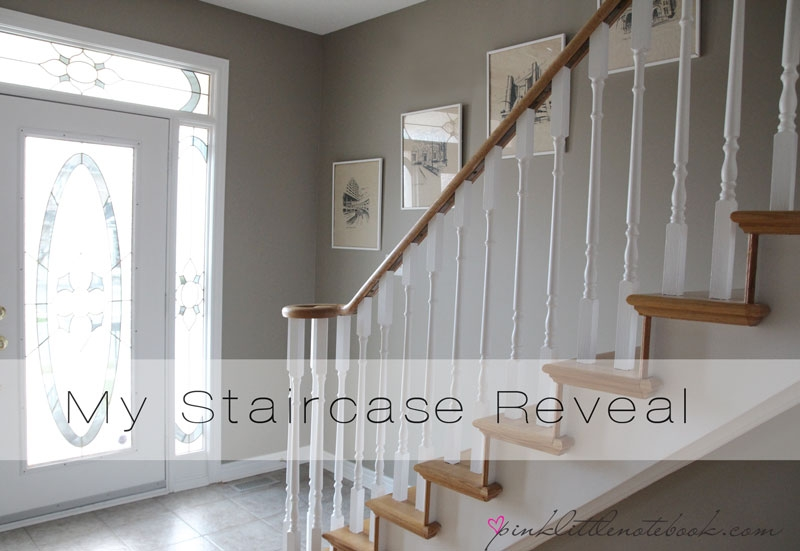 Ordinary Oak To Simply White My Staircase Reveal Pink Little   Painted Handrails For Stairs   Modern   German Style   House   Pressure Treated   Before And After