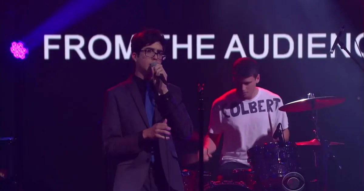 Car Seat Headrest Makes TV Debut  Drummer Wears  Colbert  Shirt to     Car Seat Headrest Makes TV Debut  Drummer Wears  Colbert  Shirt to Remember  Where He Is