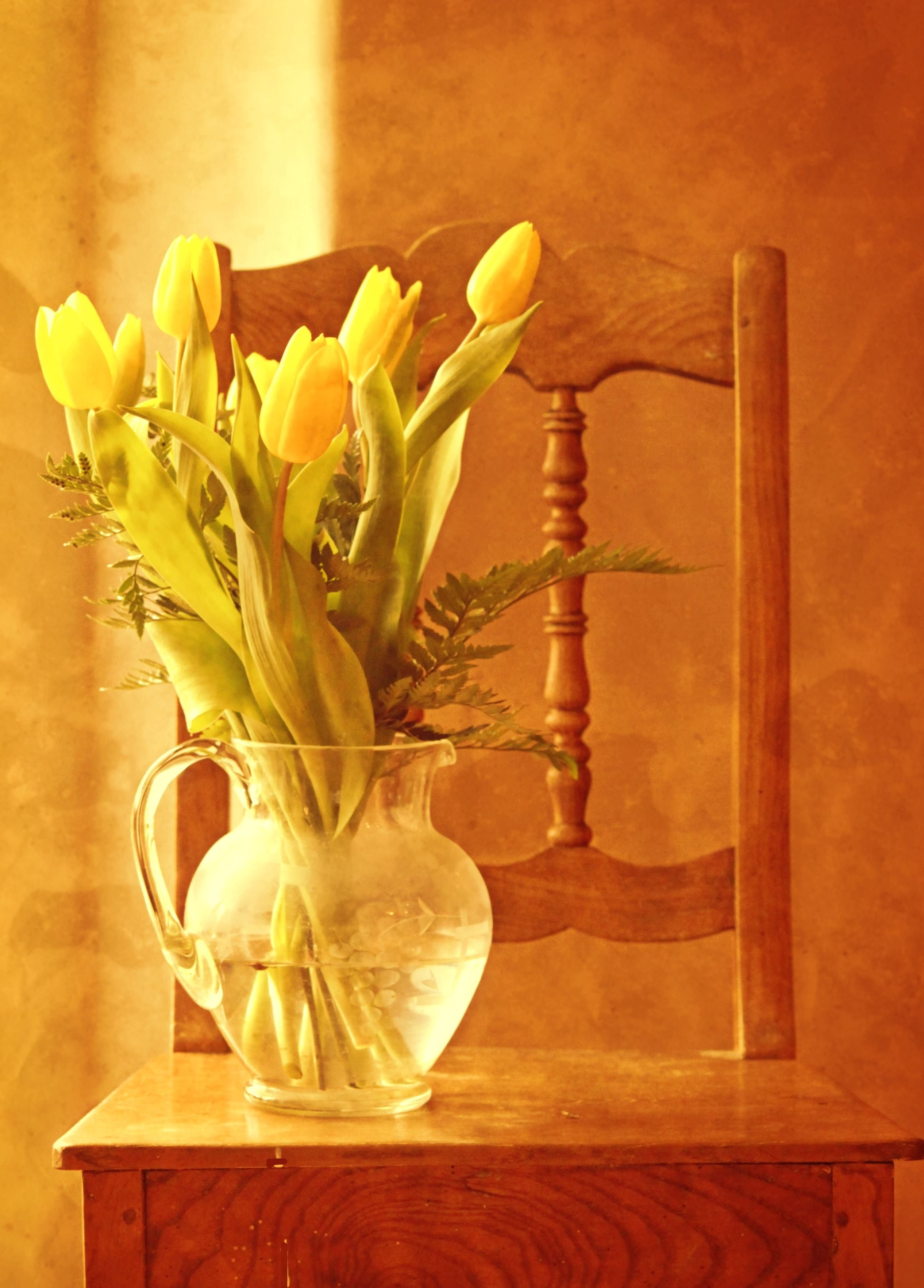 Free Picture Tulips Wood Chair Bouquet Flora Flower