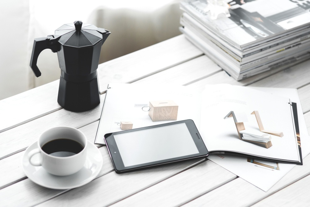 Free Picture Coffee Mug Mobile Phone Desk Book